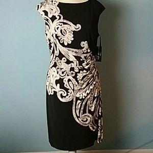 Lauren Ralph Lauren NWT black damask dress size 12